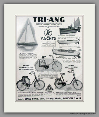 TRI-ANG Boats and Cycles. Original Advert 1939 (ref AD51040)