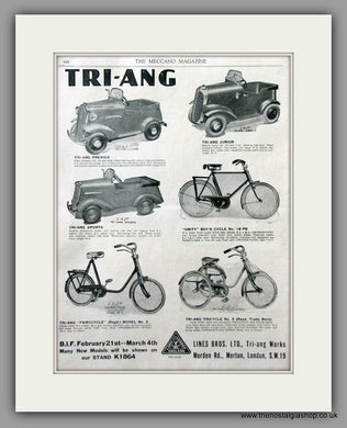 TRI-ANG Pedal Cars and Cycles. Original Advert 1938 (ref AD51041)