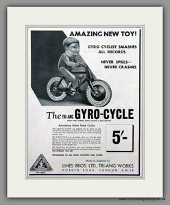 Gyro-Cycle by TRI-ANG. Original Advert 1938 (ref AD51042)