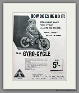 Gyro-Cycle by TRI-ANG. Original Advert 1939 (ref AD51043)