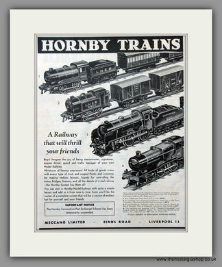 Hornby Trains. Original Advert 1940 (ref AD51047)
