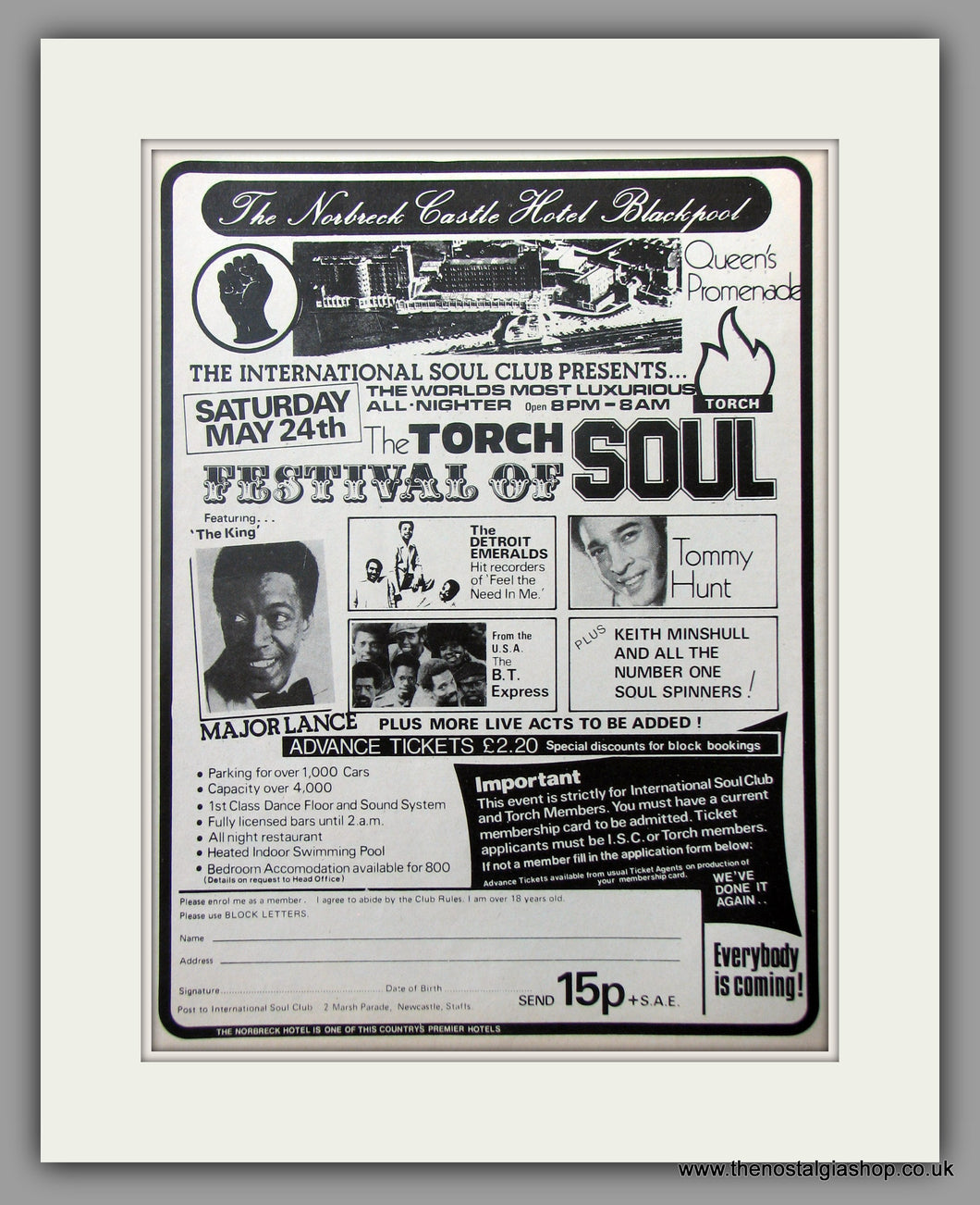 The Torch Festival Of Soul. Norbreck Castle, Blackpool. 1975 Original Advert (ref AD51078)