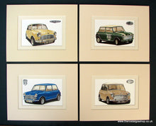 Load image into Gallery viewer, Mini Cooper. Set of 4 Mounted Prints