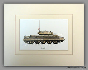 Crusader 1 British Tank. Mounted Print
