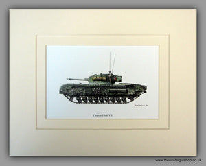 Churchill Mk VII British Tank. Mounted Print