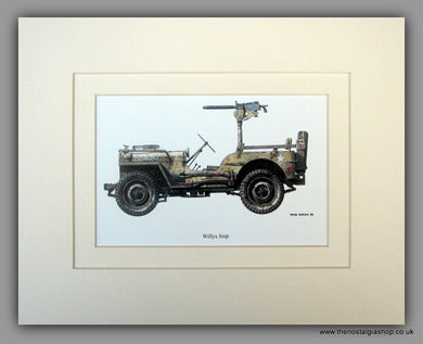 Willys Jeep American Vehicle. Mounted Print