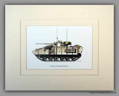 Warrior Command Vehicle. British Tank. Mounted Print