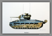 Load image into Gallery viewer, Matilda 2. British Tank. Mounted Print