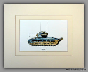 Matilda 2. British Tank. Mounted Print