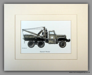 Diamond T Wrecker American Vehicle. Mounted Print