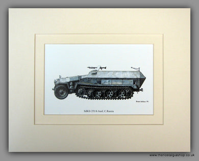 SdKfz 251/6 Ausf, C. Russia. German Vehicle. Mounted Print