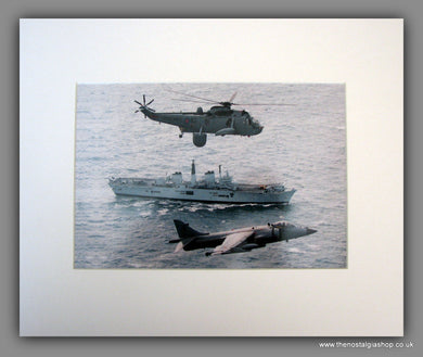 British Forces Print, Featuring Sea King, Ark Royal and Harrier. Mounted Print.