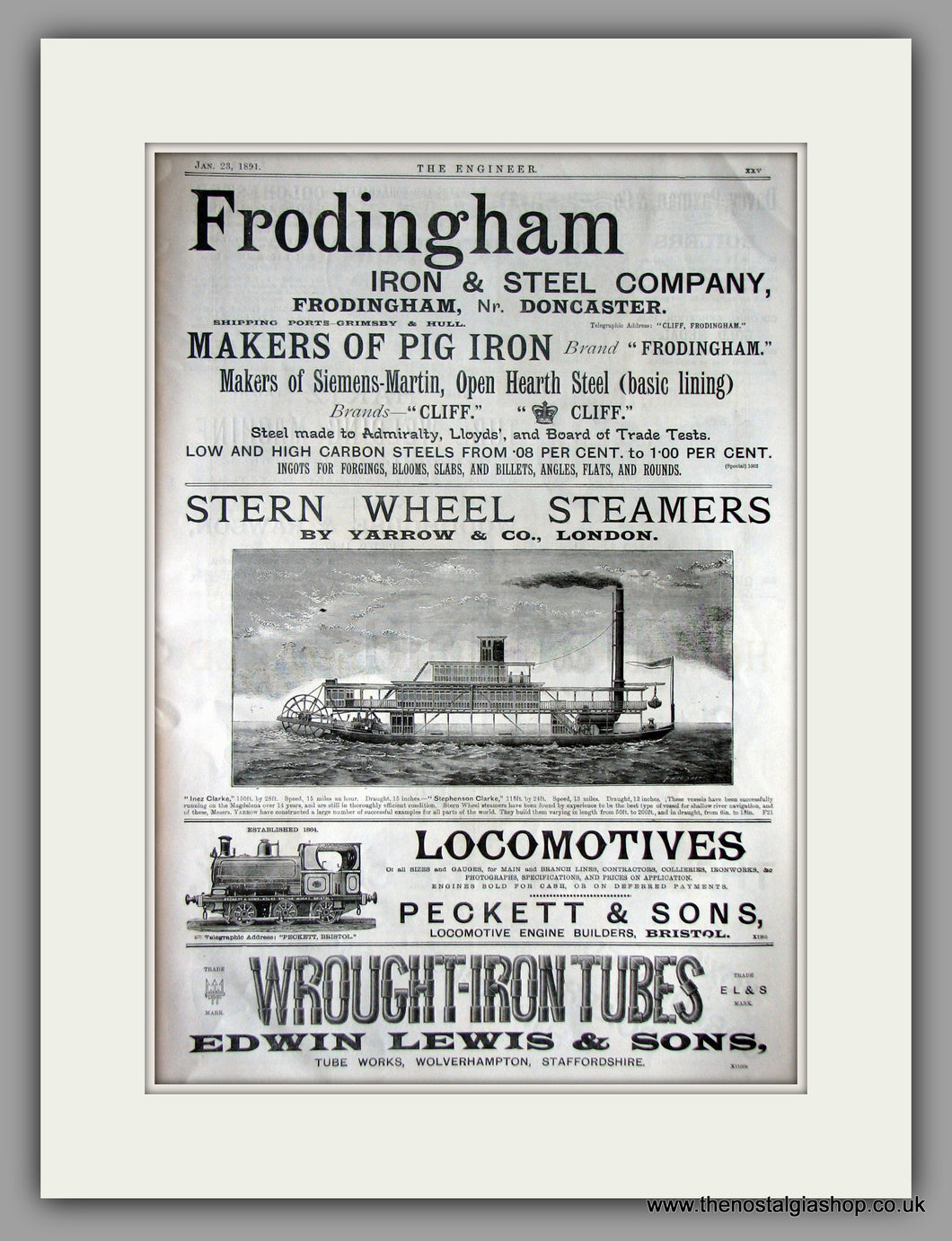 Stern Wheel Steamers. Original Vintage Advert 1891 (ref AD11222)