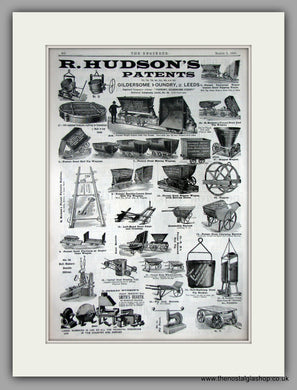 R. Hudson's Mining Equipment. Gildersome Foundry. Original Advert 1891 (ref AD11223)