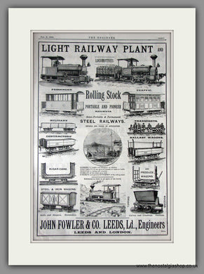 John Fowler & Co. Railway Plant and Stock. Original Vintage Advert 1890 (ref AD11221)