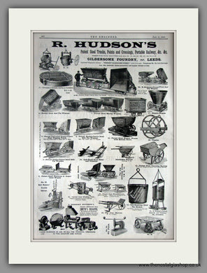 R. Hudson's Mining Equipment. Gildersome Foundry. Original Advert 1891 (ref AD11227)