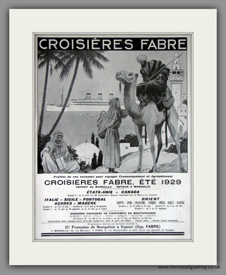 Croisieres Fabre Shipping . Original French Advert 1929 (ref AD11438)