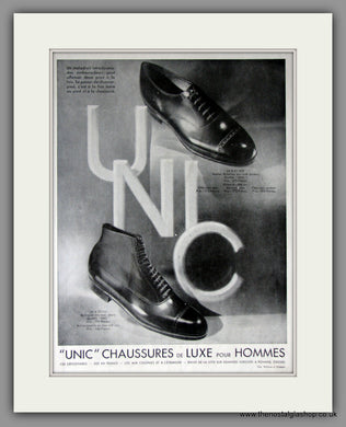 Unic. Male Luxury Shoes. Original French Advert 1930 (ref AD11232)