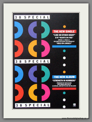 38 Special, Like No Other Night, Strength In Numbers. 1986 Original Advert (ref AD52782)