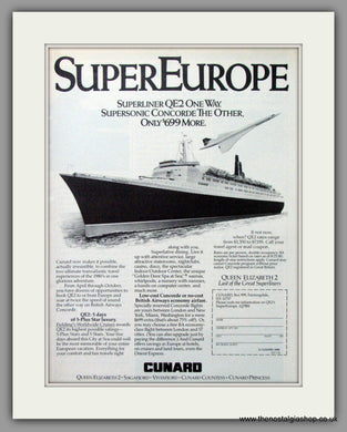 QE2 and Concorde. Super Europe Original Advert 1986 (ref AD51719)