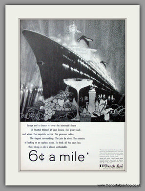 France Afloat. French Line Ocean Liners. Original Advert 1965 (ref AD51721)