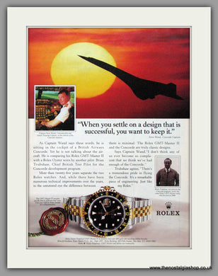 Rolex Oyster Perpetual GMT Master II and Concorde. Original Advert 1995 (ref AD51819)