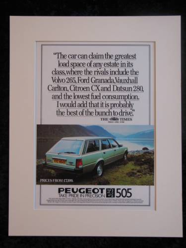 Peugeot 505 Original advert 1982 (ref AD166)