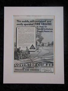 COVENTRY CLIMAX Mobile Fire Engine original advert 1939  (ref AD304)