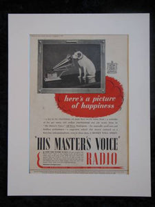 His Masters Voice Radio Original advert 1939  (ref AD314)