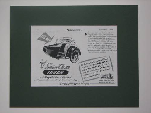Swallow Tudor sidecar original advert 1953 (ref AD374)