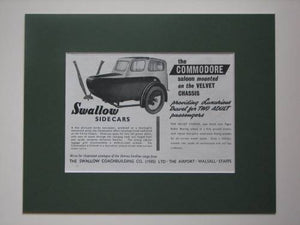 Swallow sidecars The Commodore original advert 1953 (ref AD375)