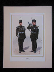 The Light Infantry & The Royal Green Jackets Buglers  Mounted print (ref PR418)
