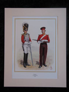 1st Life Guards Troopers c1830  Mounted print (ref PR419)