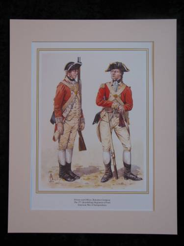 Inniskilling Regiment of Foot (27th) US war of independence  Mounted print (ref PR429)