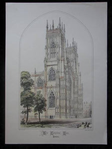 York Cathedral vintage Colour illustration