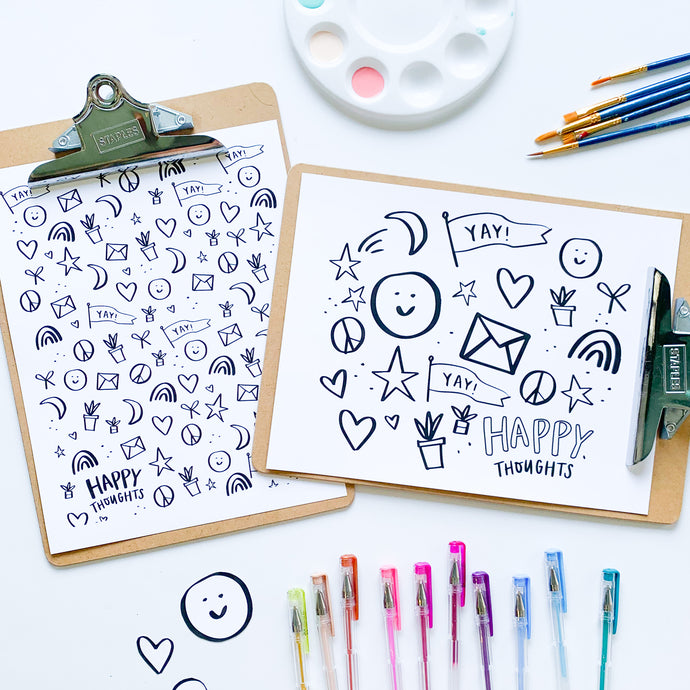 Happy Thoughts Coloring Sheets