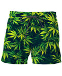 Weed #420 Mary-Jane Cannabis Swim Trunks leaf design for stoners or pot heads. 420 HIPPY wear. - ElysiumFields