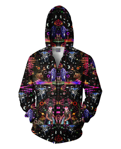 Interstellar Echolocation Zip-Up Hoodie - ElysiumFields