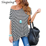Singwing Summer Stripped Women T-shirts Short Sleeve O-neck T Shirts Irregular Slim Fashion Women's T-Shirts Top - ElysiumFields