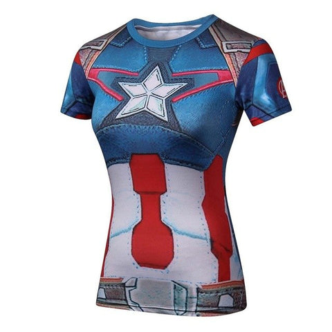 Compression T Shirt Superhero Women batman /Captain America/t Shirts G ym Fitness T-shirts Camiseta Feminina - ElysiumFields
