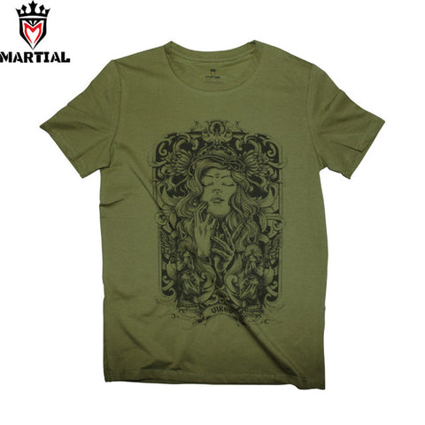 Martial: Virgo army green quick dry t shirts summer cotton t shirts - ElysiumFields