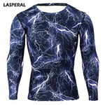 LASPERAL Fitness Long Sleeve T Shirt Mens Fitness Quick Dry Tops 3D T Shirts Print Compression Shirt Bodybuidling T-Shirts - ElysiumFields
