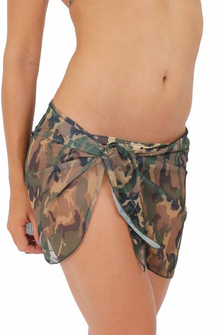 CAMO CAMOUFLAGE Sarong -Cover-up - Wrap - Pareo: Short Length - ElysiumFields