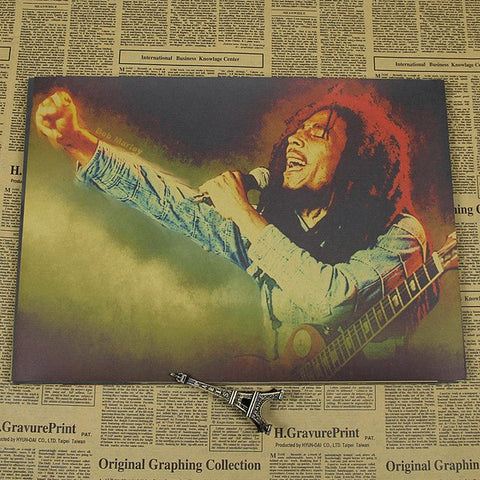 Bob Marley Bob Marley poster Jamaica Reggae Decorative Poster,Bar Poster,Vintage Kraft Poster, Wall Sticker, Decorative Painting - ElysiumFields
