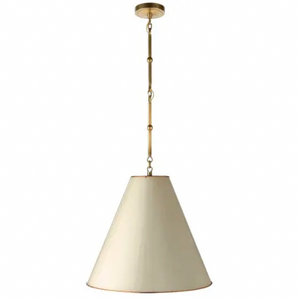 Visual Comfort & Co.| Thomas O'Brien Modern Goodman Hanging Light In Hand-Rubbed Antique Brass with Antique White Shade