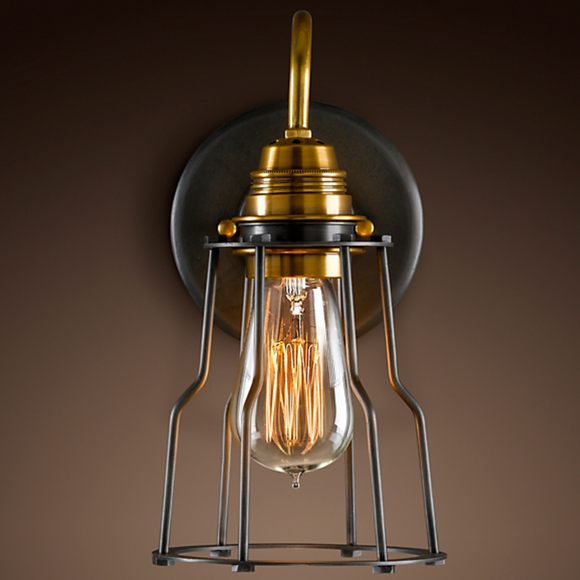 Restoration Hardware | Industrial Cage Filament Sconce in Aged Steel.