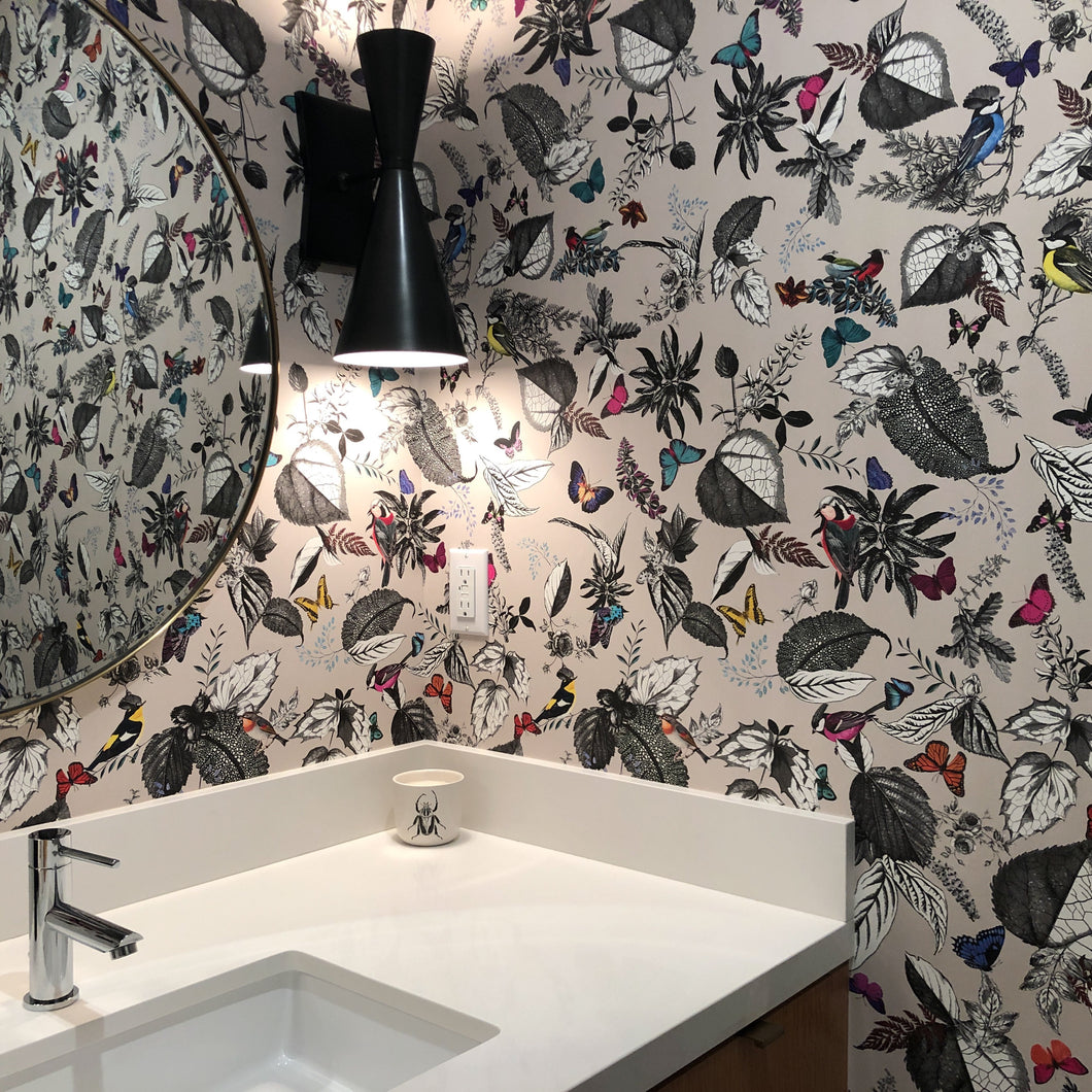 "Osborne & Little Wallcovering, ""Bird Song"". One roll, 29 1/4 feet x 27 1/2 inches."