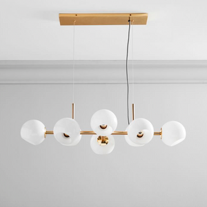 West Elm | Staggered Glass 8 Light Chandelier-Clear Glass in Antique Brass