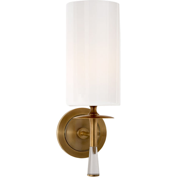 Visual Comfort and Co. | Aerin Modern Drunmore Single Sconce In Hand-Rubbed Antique Brass with Crystal with White Glass Shade