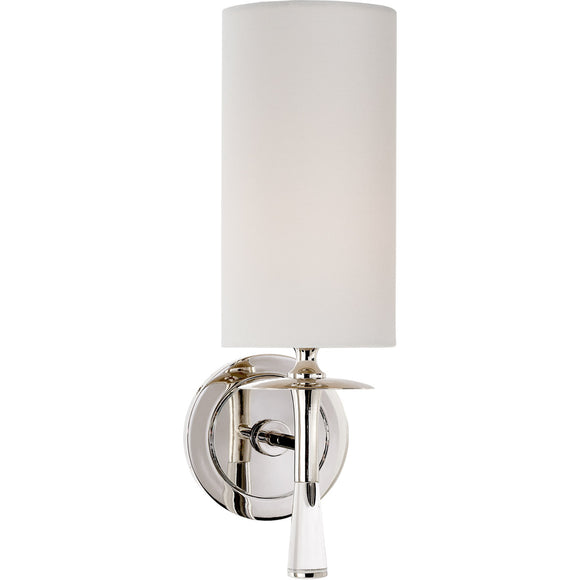 Visual Comfort and Co. | Aerin Modern Drunmore Single Sconce In Polished Nickel and Crystal with White Linen Shade